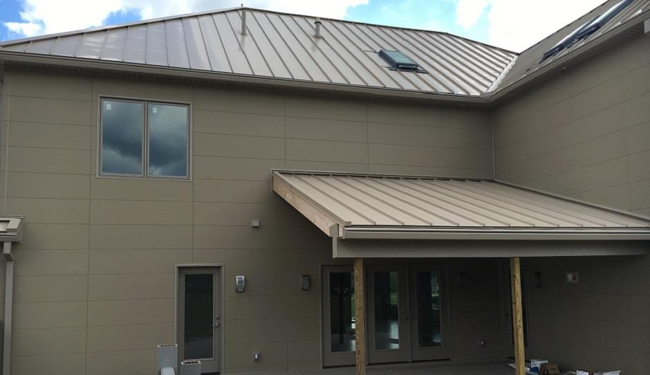 Deck view of a newly installed galvanized steel panel roof