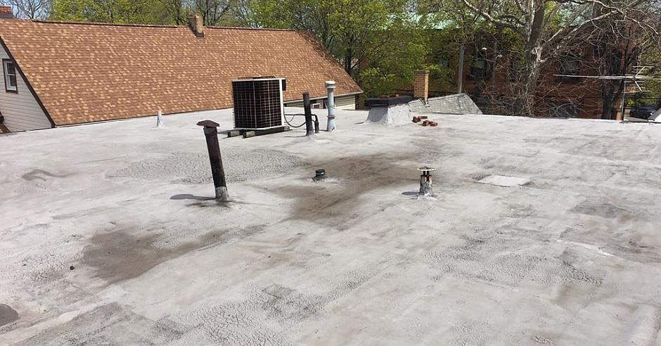 Photo from on top of a flat commercial roof