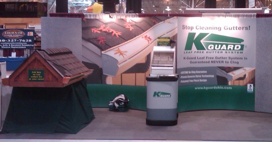 K-GUARD gutter display booth at a home improvement show